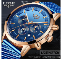 LIGE Luxury Quartz Watch for Men Blue Dial Watches Sports Watches