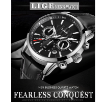 New Mens Watches LIGE Top Brand Luxury Leather Casual Quartz Watch