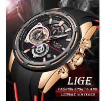 New LIGE Silicone Strap Men Watches 2+1 ZDARMA