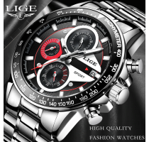 LIGE Fashion Quartz Sport Watch Men 2+1 ZDARMA