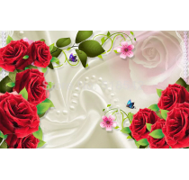 Custom Photo Wall Paper Roll 3D Silk Cloth Rose Flower Living Room TV Background Wall Decor Painting Mural Wallpaper For Bedroom