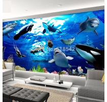 Custom Any Size 3D Stereoscopic Seabed Marine Animals Dolphin Large Mural Bedroom Living Children's Room