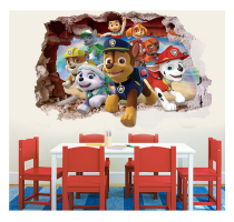 Hot Paw Patrol 3d Sticker Patrulla Canina Wall Wallpaper Kids Room