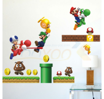 Super mario game wall stickers for kids room decorative removable PVC Wall Sticker