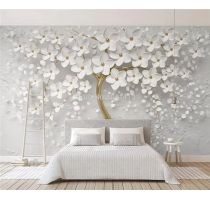 Custom Any Size Murals Wallpaper 3D Stereo White Flowers Wall Painting Living Room