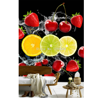 Photo Wallpaper HD Water Spray Fruit Cherry Strawberry 3D Stereo Mural Restaurant